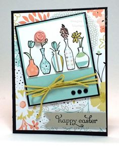 vivid vases, Easter cards, stampin up card ideas, sale-a-bration 2014 - http://stampwithkriss.com/happy-easter-vases