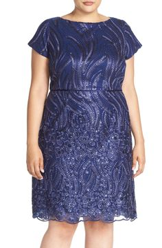 bc3c16c1cf8 Brianna Back Cutout Embroidered Overlay Sheath Dress (Plus Size)