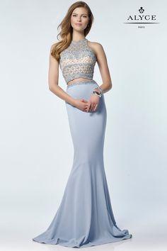 Alyce 6712 Light Blue Jersey Two Piece Dress