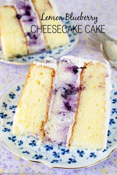 Cheesecake Cake A lemon blueberry cheesecake inside a layer cake! Absolutely delicious and easier to make than you might think!A lemon blueberry cheesecake inside a layer cake! Absolutely delicious and easier to make than you might think! Lemon Blueberry Cheesecake, Cheesecake Cake, Cheesecake Recipes, Dessert Recipes, Blueberry Cake, Birthday Cake Cheesecake, Blueberry Wedding, Just Desserts, Delicious Desserts