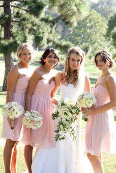 Peach/pink bridesmaid dresses