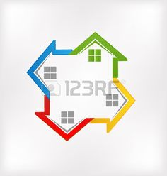 Houses vector colorful image id real estate business  Stock Vector