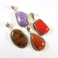 4 PCs Lot Charoite & Coral Gemstone Necklace Pendants Jewelry 925 Silver Plated #Unbranded #Pendant
