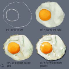 How to paint an egg! Now I'm hungry. ⚠️Painted in Photoshop using a Wacom drawing tablet⚠️ . How to paint an egg! Now I'm hungry. ⚠️Painted in Photoshop using a Wacom drawing tablet⚠️ . Digital Painting Tutorials, Digital Art Tutorial, Art Tutorials, Drawing Tutorials, Digital Paintings, Concept Art Tutorial, Illustrator Tutorials, Food Drawing, Drawing Tips