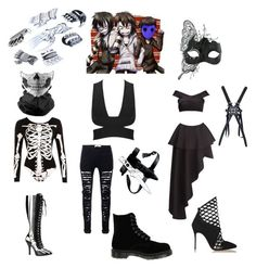 Laughing Jack, Jeff The Killer and Eyeless Jack Outfit by mindless-behavior-girl-at on Polyvore featuring polyvore Fame & Partners WearAll Funtasma Masquerade Dr. Martens Christian Louboutin GAS Jeans fashion style clothing