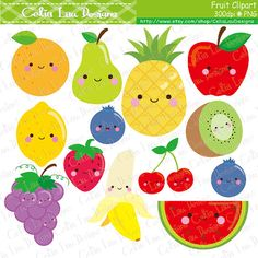 Kawaii Fruit Clipart Cute Fruit Clip Art  Food by CeliaLauDesigns