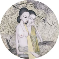 https://flic.kr/p/Jjujv8   Cheong Soo Pieng - Two Maidens   Cheong Soo Pieng (Amoy, China, 1917 - Singapore, July 1, 1983) was a Singaporean artist who was a pioneer of the Nanyang art style, and a driving force to the development of Modernism in visual art in the early 20th-century Singapore. He was also known for his signature depiction of Southeast Asian indigenous tribal people with elongated limbs and torso, almond-shaped faces and eyes in his paintings. The artist explained that as…