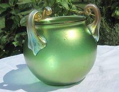 Vintage Bohemian Art Glass Vase; Loetz? Kralik? Iridescent Applied handles  <3 @