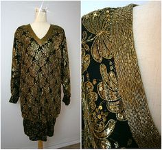 Oversized Black & Gold Sequin Lace Gatsby Dress // Gold Sequin Dress // Lillie Rubin Dress // Party Dress // Lace Flapper Dress M L
