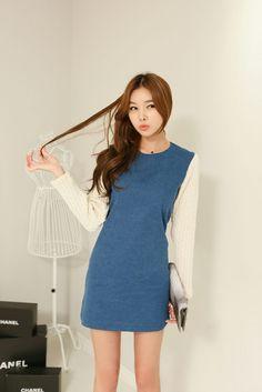 Knit Sleeve Color Dress - koreanfashionstore $39.95 sale
