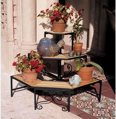 Parisian Style Ornamental Patio 3 Tiered Plant Indoor Outdoor Display Etagere