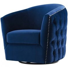 Blue Velvet Back Tufted Barrel Shaped Swivel Chair Dorm Chairs, Living Room Chairs, Living Room Decor, Lounge Chairs, Diy Chair, Chair And Ottoman, Swivel Chair, Armchair, Leather Dining Room Chairs