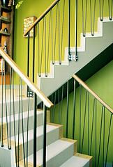 Hand Forged Steel Stair Railing @ the Beyerl residence. Designed by Gary Beyerl of Burns and Beyerl Architects- Chicago, IL.