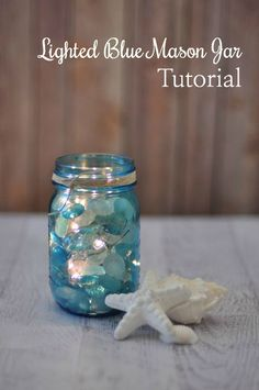 DIY Lighted Blue Mason Jar Tutorial --> so pretty. from @jodigrundig
