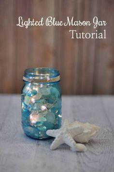DIY Lighted Blue Mason Jar Tutorial --> so pretty. from @jodigrundig