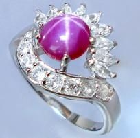 Superb A+++ Pink Star Ruby & White Topaz Ring~Solid 925 SS~Sz.8~Heirloom Piece! Sale! Hurry!