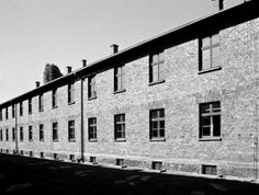 Black & white film photos from Auschwitz concentration camp in Poland.