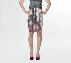 Tree Skirt Pencil Skirt printed watercolor trees charcoal trees art skirt by Emily Magone