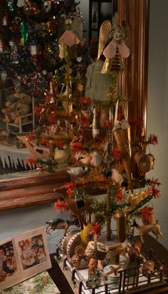 antique tri-color feather tree  with DRESDENS