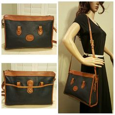 """Dooney & Bourke Vintage Satchel Crossbody Bag A nice vintage Dooney and Bourke Satchel or Crossbody Shoulder Bag in good pre-owned EXCEPT the handles are missing! The shoulder strap is adjustable and removable.  The pebbled leather is a black or Dark Navy Blue with British Tan trim. Measures 12.5""""L x 9""""H x 4""""W.     Sorry, no trades,  just looking to sell.  Comes from my SMOKE FREE HOME! Also on Ⓜ for lower price. Dooney & Bourke Bags Shoulder Bags"""