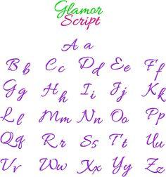 cursive embroidery alphabet | Cursive Embroidery Font Glamour Script