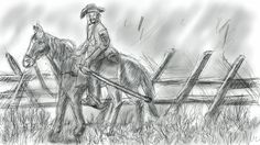 Virginia Calvaryman, Confederate States Army, circa 1861  -speed sketch on my Samsung Note 4 Corel Painter Mobile