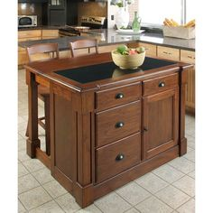 Home Styles 5520-945 Aspen Kitchen Island with Drop Leaf and Granite Top, Rustic Cherry Finish