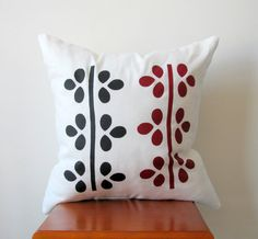 Black and Red Vine Pillow Cover Hand Printed by AnyarwotDesigns, $20.00