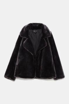 Image 9 de VESTE EFFET FAUSSE FOURRURE de Zara Faux Fur Jacket, Fur Coat, Leather Jacket, Zara, Manteau Vison, All Black, My Style, Outfits, Clothes
