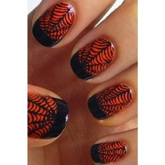 42 Halloween-Inspired Nail Looks That Are Cute AF ❤ liked on Polyvore featuring halloween