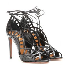 9 Aquazzura's Lola Black Lace Up Sandals kim kardashian