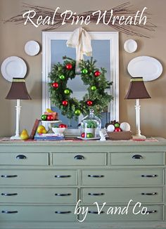 Another idea for the grapevine wreath idea and mirror over buffet/dresser
