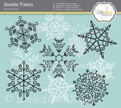 Snowflake Clip Art // Doodle Snowflake Images by LittleLlamaShoppe, $4.00