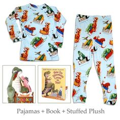"""Every little boy loves dinosaurs so why not get him """"How Do Dinosaurs Count to Ten"""" - Boardbook, Matching Blue Pajamas and a Plush Dinosaur Toy.  He can play, read, sleep and learn to count all with one gift for $42.00.  What a great product by Books to Bed."""