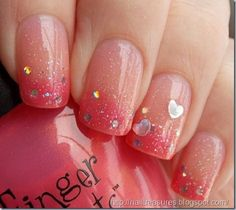 Sweet melon and pink Ombre nail art. Take the cuteness into another level by adding glitter and sequins unto your melon and pink color combination.