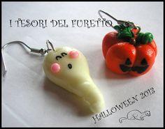 "Orecchini Halloween ""Zucca + fantasma"" fimo cernit kawaii, by I TESORI DEL FURETTO, 5,00 € su misshobby.com"
