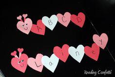 Reading Confetti: 10 easy Valentine's Day activities for preschoolers that encourage literacy development. Might make a valentine caterpillar with each letter of the alphabet Preschool Valentine Crafts, Kinder Valentines, Valentine Theme, Daycare Crafts, Valentines Day Activities, Classroom Crafts, Valentines Day Party, Valentines Balloons, Valentines Crafts For Preschoolers