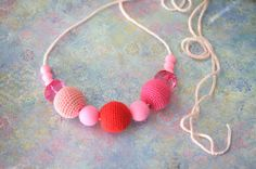 Readytoship Pink crochet necklace nursing by ForeverValues on Etsy, $23.00