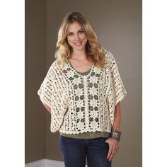 Mary Maxim - Crochet Delicate Floral Pullover - Sizes Small - XLarge
