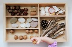 See the whole post for a gorgeous sensory invitation to explore natural items via Eltern vom Mars