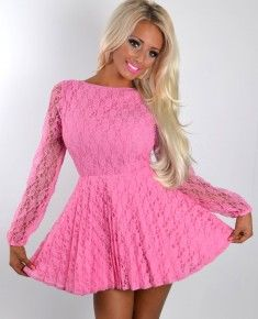 Sallie Pink Backless Lace Ballerina Dress