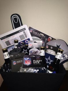, Dallas Cowboys gift basket with game day tickets (: Dallas Cowboys gift basket w. , Dallas Cowboys gift basket with game day tickets (: Dallas Cowboys gift basket with game day tickets (: Best Gift Baskets, Gift Baskets For Him, Themed Gift Baskets, Christmas Gift Baskets, Christmas Gifts For Men, Raffle Baskets, Christmas 2019, Diy Christmas, Cute Boyfriend Gifts