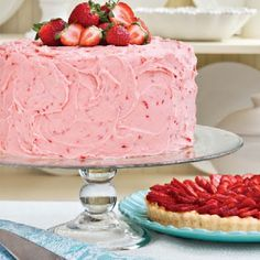 Classic Southern Triple-Decker Strawberry Cake Recipe.  It makes me smile just looking at it!  Can't wait to try this recipe!