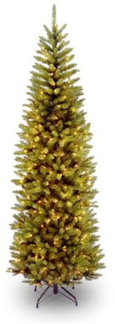 National Tree 7 1/2' Kingswood Fir Pencil Tree, Hinged, 350 Clear Lights #NationalTreeCompany