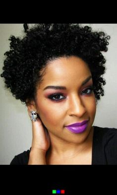 Type 3c/4a curls. ♥ purple lipstick