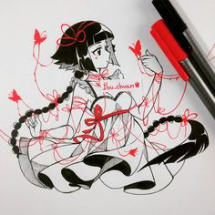 "Random girl, ""inked with pen staedtler (red and black)""<---- read please ow< Mariposas de sangre, la sangre es linda :'3 (de una manera artística, claro) pero no puedo ver cuando me sacan sangre, me da cosa #traditional #inked #instadraw #instaanime #mariposas #hilorojo #penstaedtler #shojo #cutegirl"