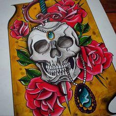 #skull #skulls #caveira #rose #skullandroses #tattooflash #traditional #tatuagem…