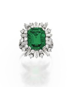 Platinum, Emerald and Diamond Ring, Gübelin Centered by an emerald-cut emerald weighing 4.70 carats, framed by round and baguette diamonds weighing approximately 1.70 carats, size 5.