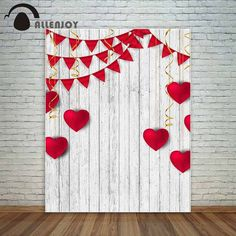 Allenjoy Love red hearts and red banners white wooden planks golden ribbons wedding Valentine s day fund photo studio backdrop Valentines Photo Booth, Valentine Backdrop, Valentine Picture, Valentines Day Photos, Valentines Day Background, Valentines Day Decorations, Valentines For Kids, Valentine Crafts, Valentine Nails