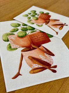 Good reads - plant lover illustration / botanical print / botanical wall decor / house plant print / pilea illustration Plant Art, Plant Illustration, All Poster, Begonia, Botanical Prints, Beautiful Artwork, House Plants, Illustrations Posters, Decor Styles